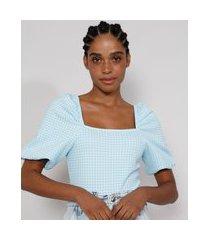 blusa de jacquard feminina estampada xadrez vichy manga bufante decote reto azul claro