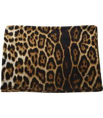 saint laurent leopard printed beige & black silk scarf