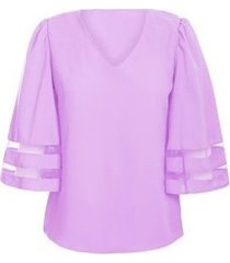 v collar grid stitching seven points sleeve camiseta de mujer-violeta