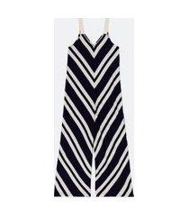 macacão pantalona listrado com alças de corda | marfinno | azul | p