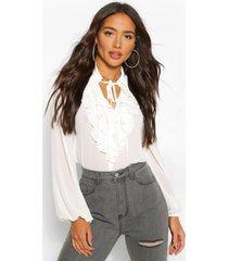 chiffon blouse met geplooide kraag, white