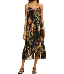 women's allsaints paola nolina crinkle midi dress, size 6 us - black