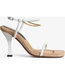 proenza schouler square padded chain sandals - 90mm natural/white 38
