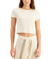 bar iii ribbed cropped t-shirt, created for macy's