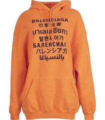 oversized languages hoodie, fluorescent orange