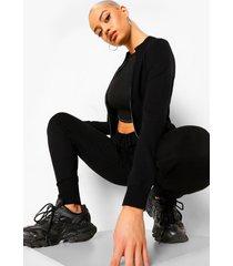 gebreide hoodie, black