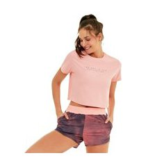 t-shirt alto giro speed motivation coral cream 2121701 - feminino rosa