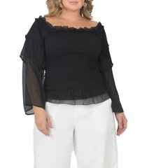 plus size women's standards & practices tiered sleeve smocked top, size 3x - black