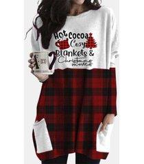 camicetta casual a maniche lunghe con stampa scozzese natalizia plus