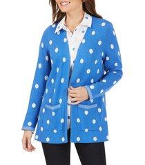 women's foxcroft brighton jacquard dot cotton blend cardigan sweater, size large - blue