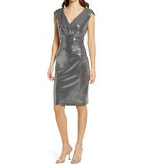 connected apparel v-neck sequin shift dress, size 8 in silver at nordstrom