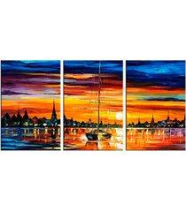 conjunto de telas decorativas barco a vela e por do sol médio love decor