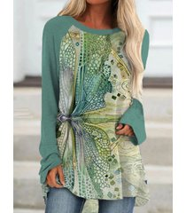 camicetta o-collo manica lunga patchwork stampa libellula per donna