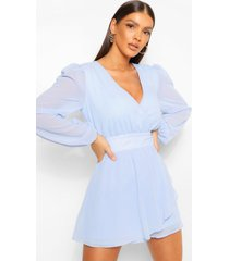 geweven chiffon romper met shirt mouwen, dusty blue