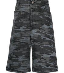 balenciaga camouflage-print denim shorts