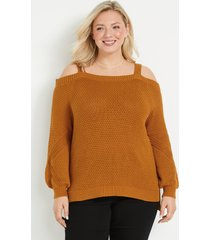 maurices plus size womens solid cold shoulder blouson sleeve sweater