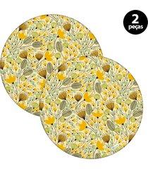 capa para sousplat mdecore floral amarelo 2pã§s - amarelo - dafiti
