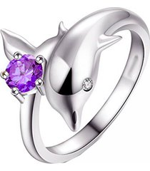14k white gold over round purple amerthyst dolphin style womens ring