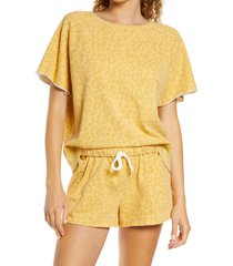 honeydew intimates beach bum cotton lounge top, size small in yellowstone leopard at nordstrom
