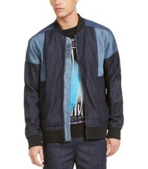 guess men's chambray track bomber jacket