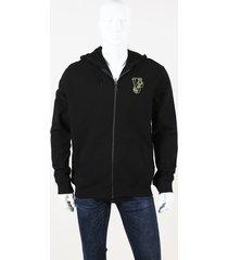 versace jeans couture logo cotton hoodie black/logo sz: xxl