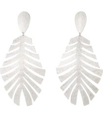 buffedss leaf clip earrings, women's, josie natori
