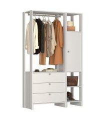 estante closet nova mobile ey102 yes com 1 porta e 3 gavetas
