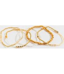 women's helena wooden bracelet set in ivory by francesca's - size: one size