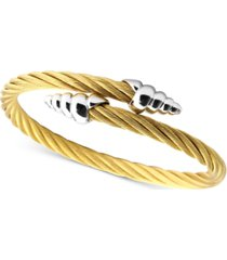 charriol cable bypass bracelet in 18k gold pvd stainless steel & sterling silver