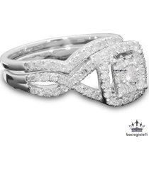 criss cross bridal wedding ring set 14k white gold fn. 925 silver round cut cz