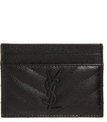 women's saint laurent monogram leather card case - black