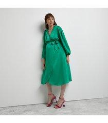 river island womens green maternity satin wrap midi dress