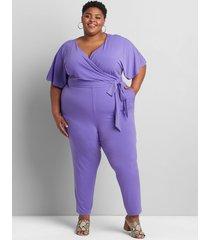 lane bryant women's matte jersey faux-wrap jumpsuit 38/40 purple opulence