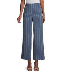lafayette 148 new york women's riverside pinstripe wide-leg pants - serenity - size m