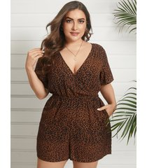 yoins plus talla abrigo de leopardo con cuello en v diseño mono corto de manga corta