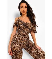 luipaardprint jumpsuit met franjes, uitgesneden schouders en ceintuur, brown