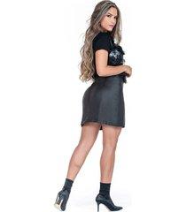 falda corta negra efecto cuero ribetes
