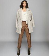 reiss scarlet - wool blend teddy coat in grey, womens, size 10