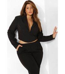 plus getailleerde blouse met haakjes, black