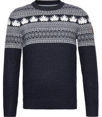 jacquard cre stickad tröja m. rund krage blå tom tailor