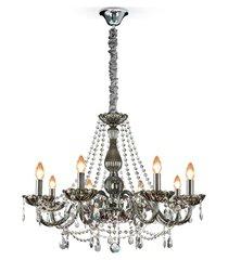 lustre clássico para 8 lâmpadas fumê