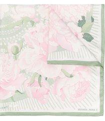 hermès floral-print scarf - white