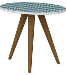 mesa de canto decorativa lyam decor retrã´ estampa azul - azul - dafiti