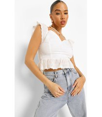 off shoulder peplum top, white