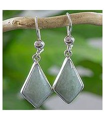 light green jade dangle earrings, 'jungle pyramids' (guatemala)