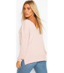 plus sweater with v-neck detail front & back, blush
