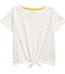 girl's mini boden kids' tie front t-shirt, size 5-6y - white