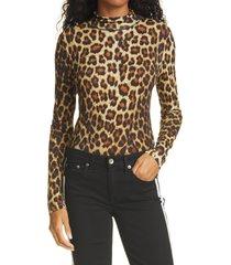 women's rag & bone shaw cheetah print turtleneck sweater, size xx-small - brown