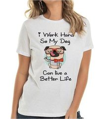 camiseta dog work hard buddies feminina - feminino