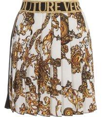 versace jeans couture baroque bijoux printing satin skirt